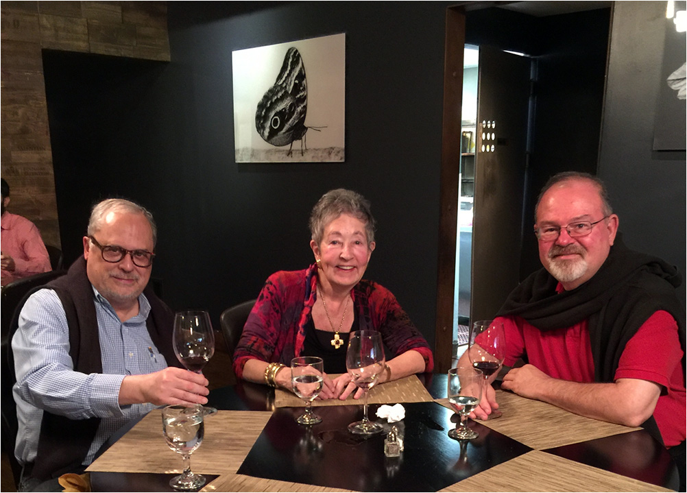 Sally Mosher with friends Christian Mounger and Ron Harrell at Santa Monica Malbec.