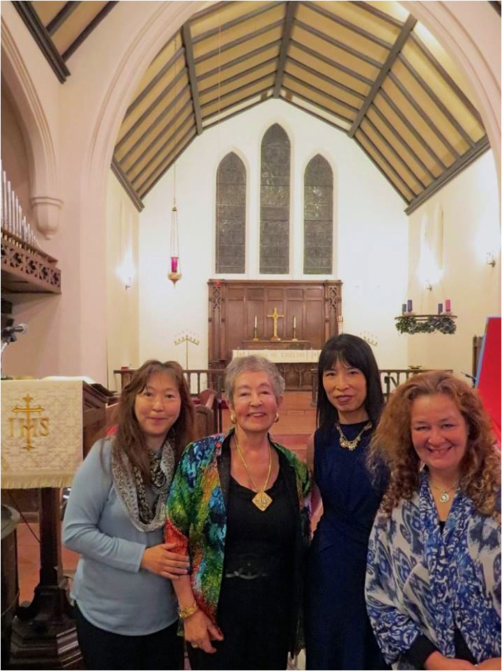 Sally Mosher with Gloria Cheng, Karen Tenaka, and Carolyn Yarnell (November 2015)