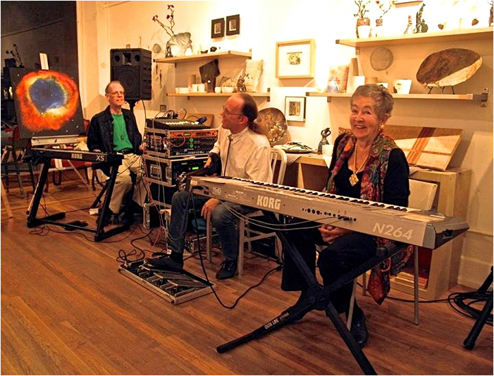 Sally Mosher with Patrick Lindley and Scott Fraser at SPACE Art Gallery, South Pasadena (November 2015)