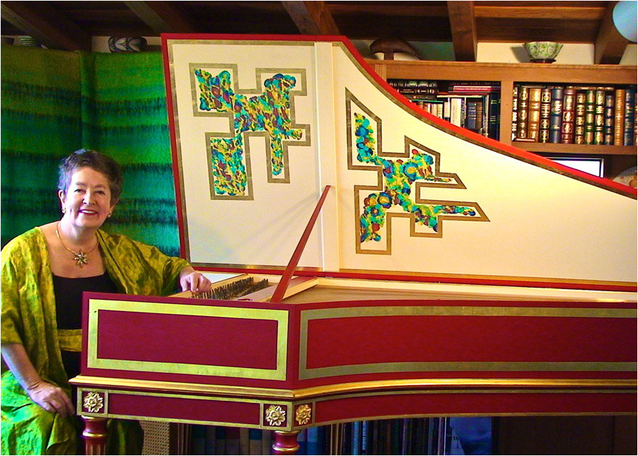 Sally Mosher at her French Double harpsichord